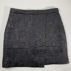 J.Crew Paisley Black Shimmer Origami Skirt